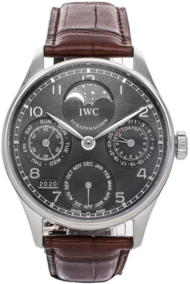 IWC Black 18K White Gold Portuguese Perpetual Calendar IW5022-18 Men's Wristwatch 42 MM