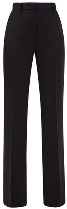 Prada Flared Satin-back Crepe Trousers - Black