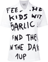 Junya Watanabe Comme Des Garçons - short sleeve slogan polo shirt - women - Cotton - S