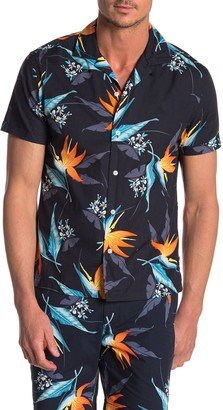 Original Penguin Short Sleeve Tropical Floral Print Slim Fit Shirt