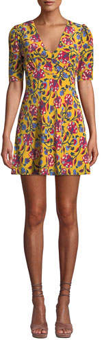 Saloni Corinne Floral-Print Silk Mini Dress