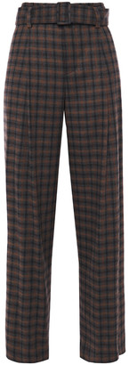 Vince Checked Twill Wide-leg Pants
