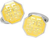 Jan Leslie Thread-Pattern Enamel Octagon Cuff Links, Yellow
