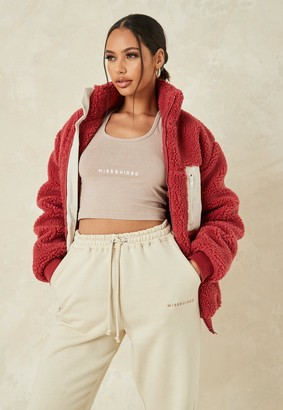 Missguided Tall Red Borg Teddy Cord Mix Jacket