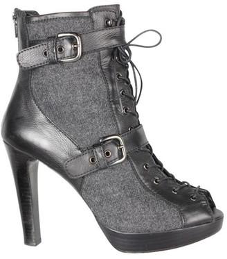 Stuart Weitzman Black Leather Ankle Peep Toe Boots Size 40