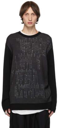 Yohji Yamamoto Grey and Black Dictionary Crewneck Sweater