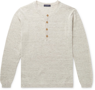Thom Sweeney Melange Linen And Silk-Blend Henley Sweater