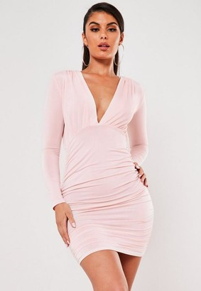 Missguided Pink Slinky Ruched V Neck Mini Dress