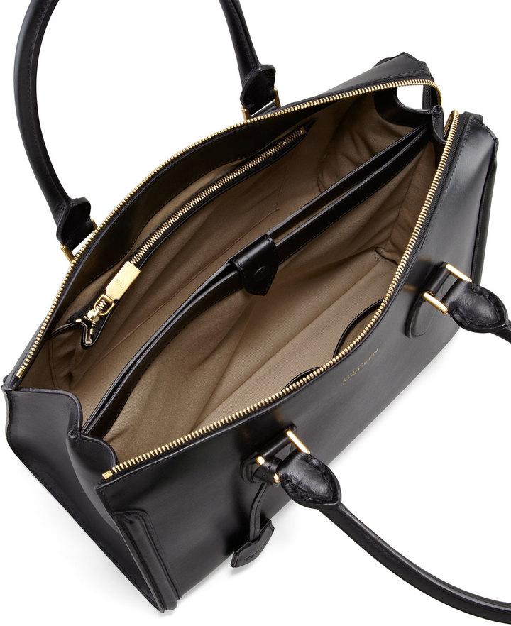 Alexander McQueen Heroine Leather Zip-Up Tote Bag, Black