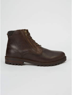 George Brown Leather Lace Up Chunky Boots