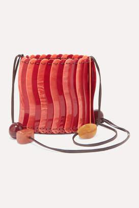 Ulla Johnson Yadira Beaded Acrylic Shoulder Bag - Red