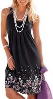 Sevozimda Women's Summer Floral Print Sleeveless Bohemian Ruched Tunic Sundress L