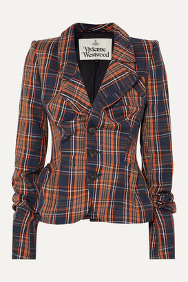 Vivienne Westwood Gathered Checked Cotton-twill Blazer - Navy