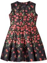Oscar de la Renta Navy Pansy Print Dress with Bow Back