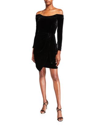 Flor et.al Sara Velvet Off-Shoulder Cocktail Dress