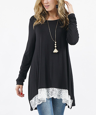 Lydiane Women's Tunics BLACK - Black Long-Sleeve Lace-Trim Hi-Low Top - Women