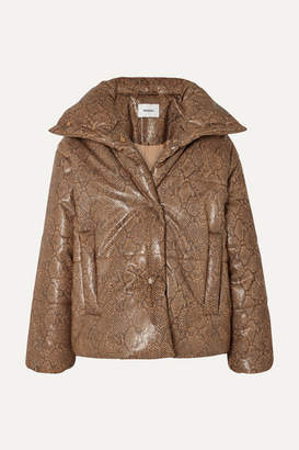 Nanushka Quilted Snake-effect Vegan Leather Jacket - Brown