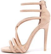 Qupid Caught My Eye Taupe Suede Caged Heels