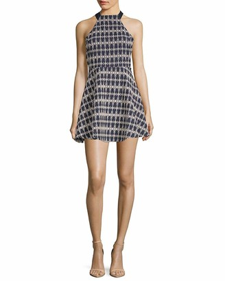 J.o.a. Women's Halter Neck Embroidery Dress with Back Cut Out