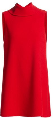 Oscar de la Renta Sleeveless Turtleneck Wool-Blend Shift Dress