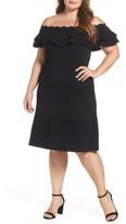 Eliza J Plus Size Women's Off The Shoulder Knit Ruffle Fit & Flare Dress