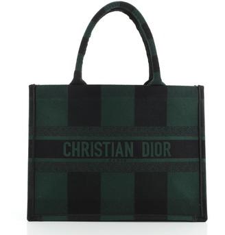 Christian Dior Book Tote Plaid Canvas Small