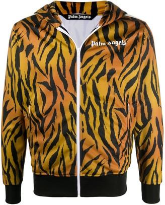 Palm Angels Tiger-Print Zipped Hoodie