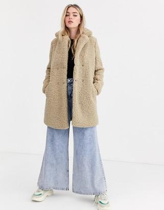 Noisy May teddy coat in beige