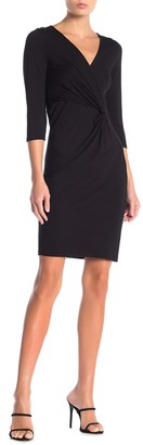 Blvd 3/4 Length Sleeve Twist Solid Dress