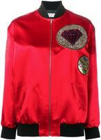 Saint Laurent patch bomber jacket - women - Silk/Cotton/Cupro/Wool - 38