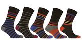 John Lewis Multi Stripe Socks, Pack Of 5, Black/multi
