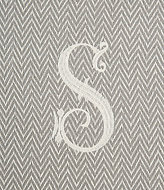 Mud Pie Initial-Embroidered Herringbone Throw