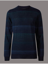 Autograph Merino Wool Blend Striped Slim Fit Jumper