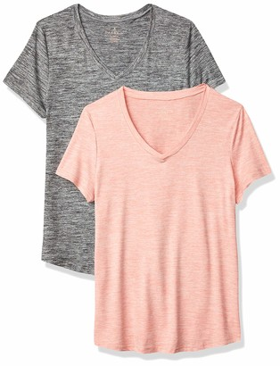Danskin Women's 2 Pack Essential V Neck T-Shirt