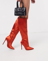 Asos Design DESIGN Carly pull on knee boots in rust satin