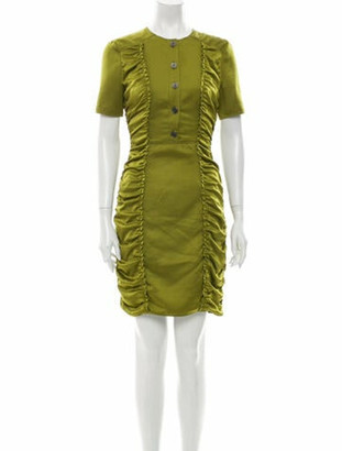 Burberry Crew Neck Mini Dress Green
