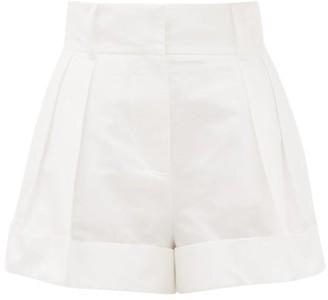Valentino High-rise Pleated Cotton-blend Shorts - White