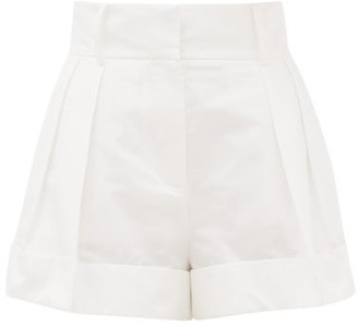 Valentino High-rise Pleated Cotton-blend Shorts - Womens - White