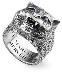 Gucci Sterling Silver& Purple Crystal Saber-Toothed Cat Ring