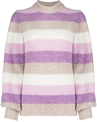 Ganni Striped Balloon Sleeve Jumper