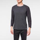 Paul Smith Men's Charcoal Grey Textured-Stripe 3/4 Raglan Sleeve T-Shirt