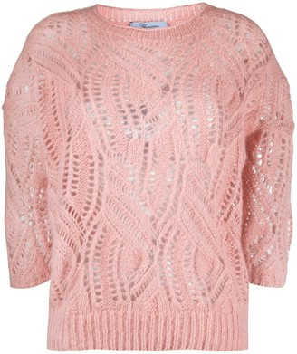 Blumarine Cut-Out Detail Crop Sleeve Jumper