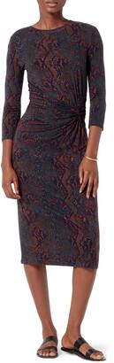 Joie Meika Snakeskin Print Ruched Dress