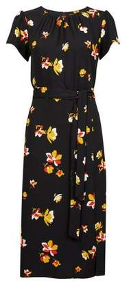 Dorothy Perkins Womens Black Floral Print Tie Detail Midi Skater Dress, Black