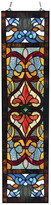 """River Of Goods 36"""" Victorian Stained Glass Fleur De Lis Window Panel, Red"""