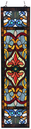 "River Of Goods 36"" Victorian Stained Glass Fleur De Lis Window Panel, Red"