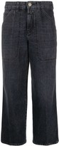 Closed cropped panel jeans