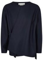 Marni Navy Wool Blend Coat