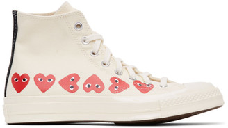 Comme des Garcons Off-White Converse Edition Multiple Hearts Chuck 70 High Sneakers