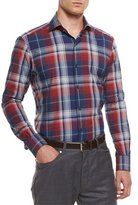 Ermenegildo Zegna Extra-Large Plaid Sport Shirt, Red